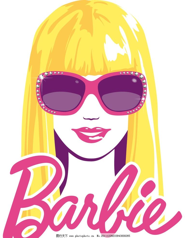 芭比印花图案 时尚 潮流 女性 布花 头像 眼镜 美女 平面设计