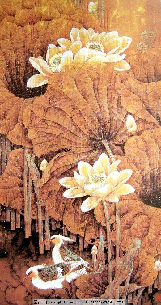 木雕荷花鸬鹚图片