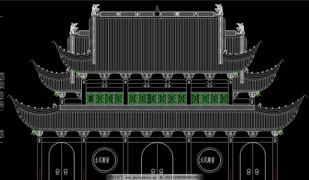 古建筑祠堂戏台 立面图片