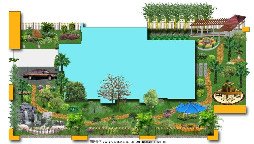 别墅绿化效果图 园林 绿化 假山 水池 凉亭 树木 别墅效果图 园林设计