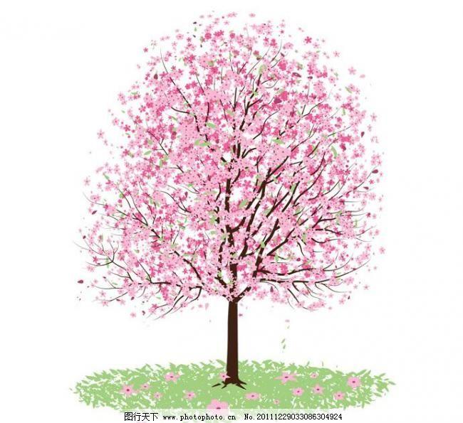 桃树春天线条画