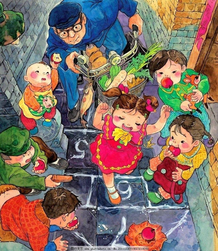 跳房子 女孩 孩子 童年 卡通 绘本 手绘 艺术 油画 趣味 儿童画