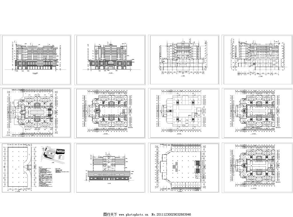 农贸市场建筑施工图 独栋别墅 cad图 cad dwg 图纸 平面图 素材 装修