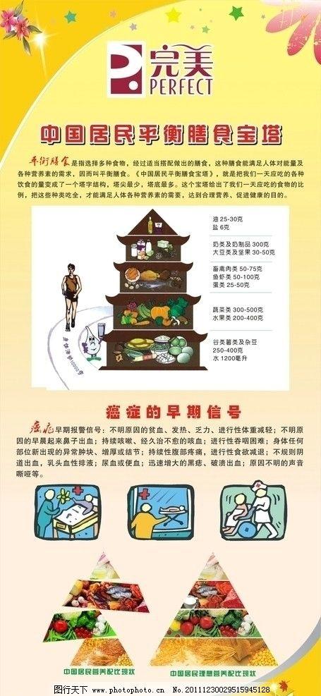 健康营养x展架 膳食宝塔 营养比例表 星星 花朵 广告设计 矢量 cdr