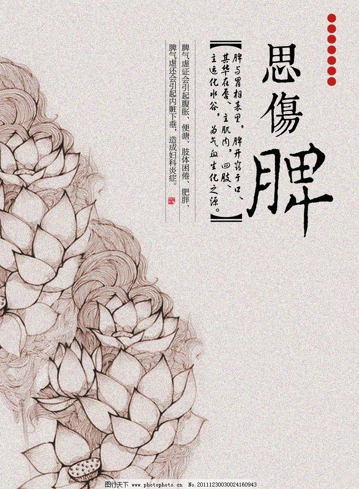 中式花卉图案养生 传统 中药 禅意 品味 中医 心肺肾肝