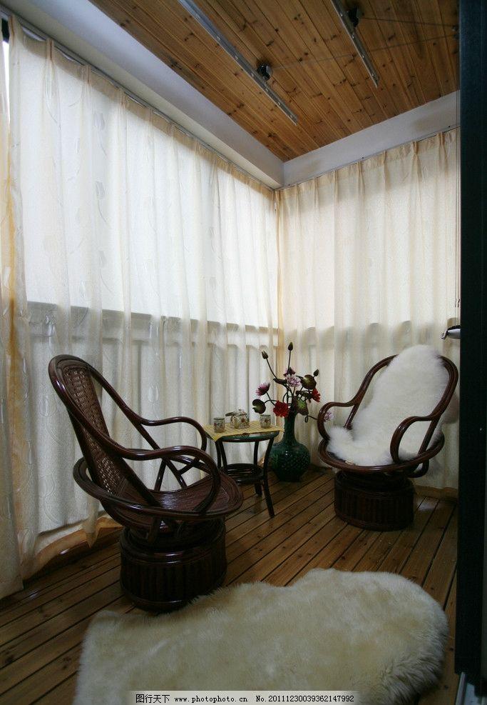 休闲阳台 杉木吊顶 室外地板 休闲椅 刘克空间设计专辑 室内摄影