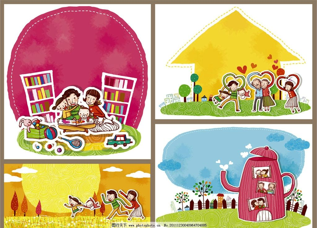 卡通画 一家人 矢量图 卡通人物 系列卡通形象 男孩 女孩 爸爸 妈妈图片