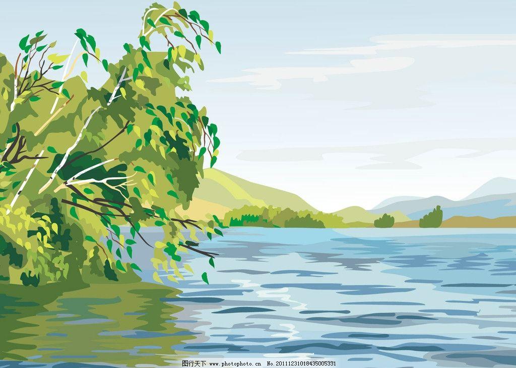 河边野景 河水 树 草地 花 天空 绿色 蓝色 黄色 动漫风景