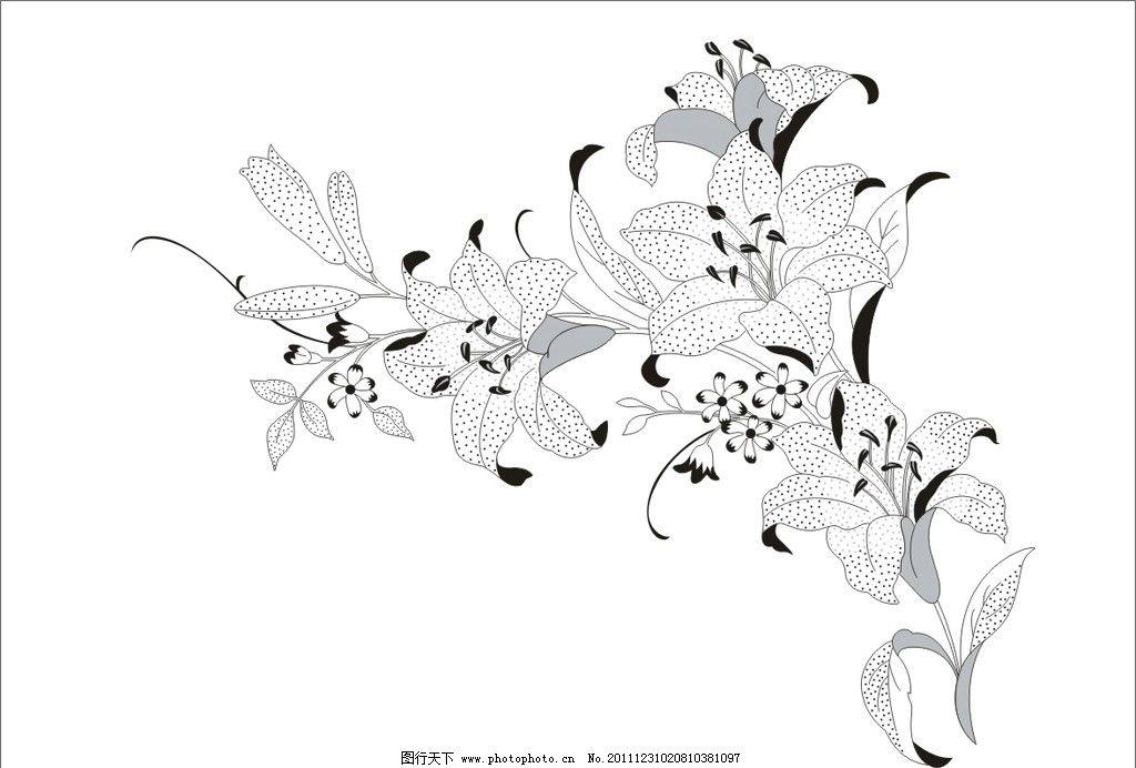 滴点百合花设计图片